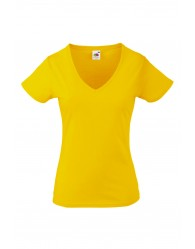Fruit of the Loom Karcsúsított sárga női póló